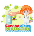 coronavirus protection banner with doctor cartoon vector image vector image