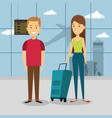 couple travelers in the airport characters vector image
