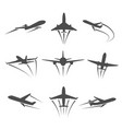 dark silhouette a plane taking off vector image vector image