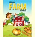 farm poster design with farmer and animals vector image vector image