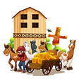 Farmer and barn vector image vector image