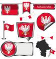 flag masovian poland vector image vector image