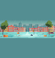 flood in town river water stream on city street vector image vector image