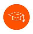 graduated school cap round line icon vector image