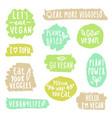 grunge vegan labels vector image vector image