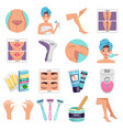 hair removal icons set vector image vector image