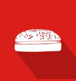 hamburger flat icon with red background vector image