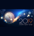 happy hew 2019 year clock fileworks lights and vector image