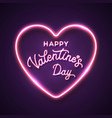 happy valentines day neon script lettering text vector image