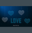 happy valentines day with love word and heart vector image vector image