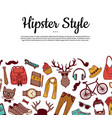 hipster doodle icons background with place vector image vector image