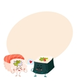 Japanese salmon tuna sushi and nori seaweed roll vector image