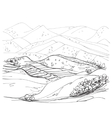 Landscape sketch drawing vector image vector image