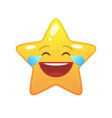 laughing tears star shaped comic emoticon vector image vector image