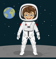 little boy astronaut standing on the moon surface vector image vector image