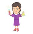 little caucasian girl holding test tube and beaker vector image vector image