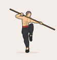 man with quarterstaff action kung fu pose graphic vector image