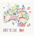 map of the australia and travel icons australia vector image vector image