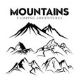 mountain silhouette set nature or outdoor camping vector image