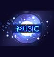 music neon sing night club banner logo emblem vector image vector image