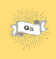 Ok ok text on vintage hand drawn ribbon graphic vector image