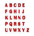 red 3d letters alphabet lettering design of red vector image