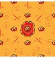 Red poppy flower seamless pattern vector image