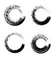 set black ink round brush stroke on white vector image vector image