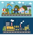 Set of color urban landscape and city life banners vector image