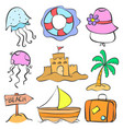 set summer holiday of doodle style vector image vector image