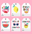 set summer paradise tags vector image vector image
