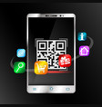 smartphone scans barcode for purchase vector image vector image