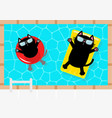 swimming pool black cat floating on yellow pool vector image