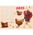 2017 calendar with rooster hens and chickens vector image