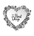 Vintage floral frame Heart shape vector image