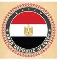 Vintage label cards of Egypt flag vector image