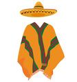 Sombrero and mexican poncho vector image