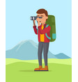 a guy seeing trough the binocular backpaking vector image vector image