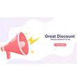 big sale discount concept loudspeaker megaphone vector image