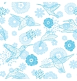 Blue Hummingbirds and Flowers Lineart vector image