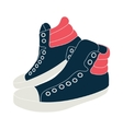 blue sneakers on white background vector image