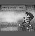 bmx stunt cyclist over abstract background with vector image vector image