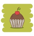 Chocolate muffin icon with cherry vector image vector image