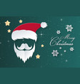 christmas day green background santa claus paper vector image vector image