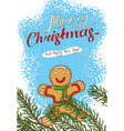 christmas postcard with fir branch and gingerbread vector image vector image