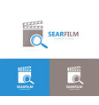 clapperboard and loupe logo combination vector image vector image