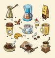 coffee set coffeebeans and coffeecup drink vector image