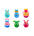 collection egg shaped bunnies colorful easter vector image vector image
