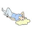 comic cartoon woman lying on floor vector image vector image
