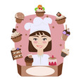 confectioner girl on a pink background vector image